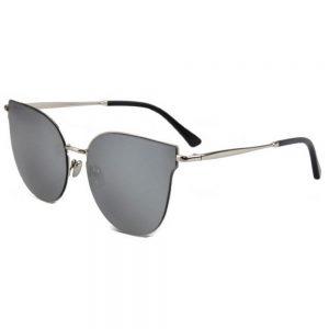 Women Metal Sunglasses Fashion Silver Frame Silver Mirror Lens 86010