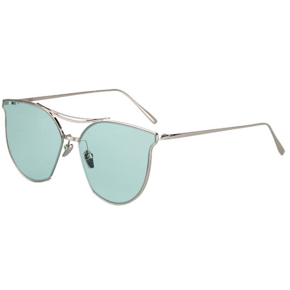 Women Metal Sunglasses Glamour Silver Frame Green Clear Lens