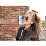 Sunglasses Womens Metal Fashion Gold Frame Fire Lens
