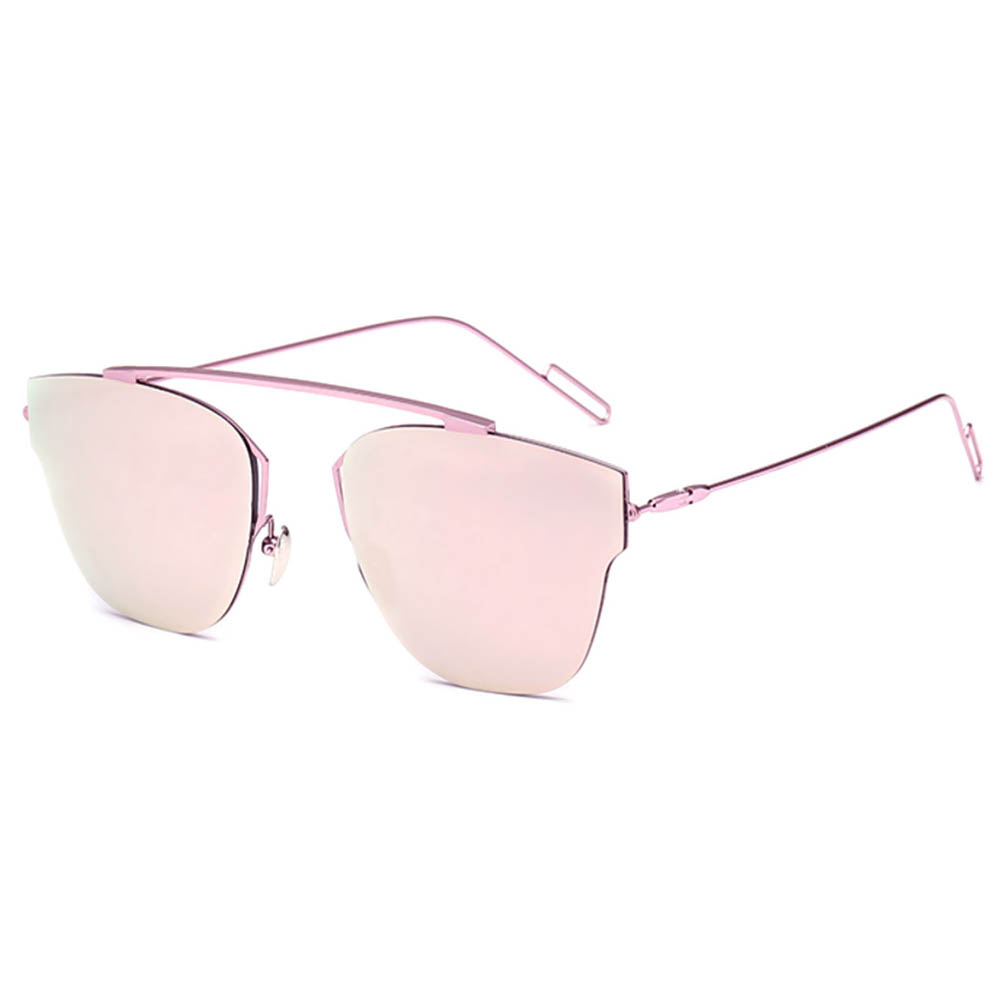Sunglasses Womens Metal Fashion Pink Frame Pink Lens