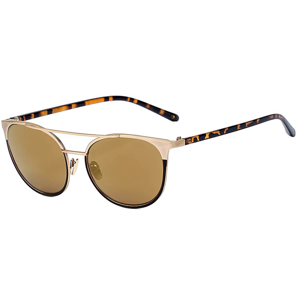 Sunglasses 86026 C3 Women's Metal Fashion Gold/Leopard Frame Brown Mirror Lens