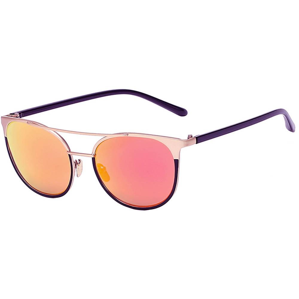 Sunglasses 86026 C5 Women's Metal Fashion Gold Frame Purple Mirror LensSunglasses 86026 C5 Women's Metal Fashion Gold Frame Purple Mirror Lens