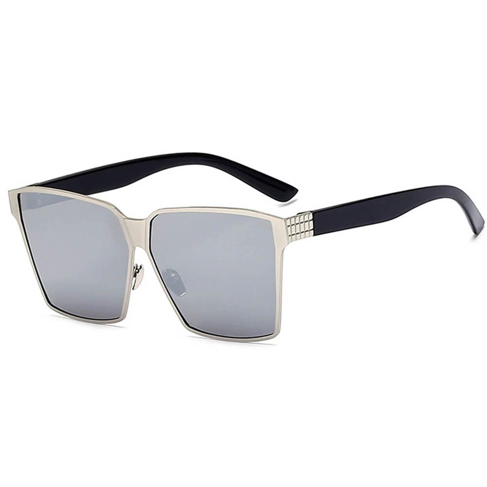 Sunglasses 86029 C1 Women's Metal Fashion Black/Silver Frame Silver Mirror Lens