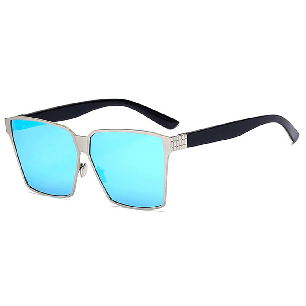 Sunglasses 86029 C1 Women's Metal Fashion Black/Silver Frame Blue Mirror Lens