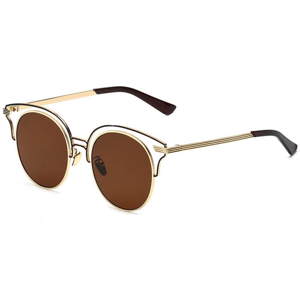 Women Metal Sunglasses Round Fashion Gold Frame Brown Lens