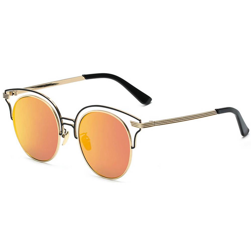 Women Metal Sunglasses Round Fashion Gold Frame Red Mirror Lens