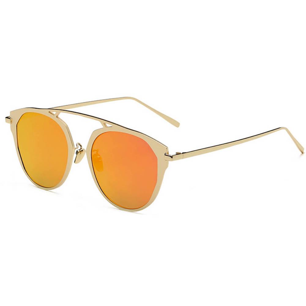 Sunglasses 86046 C2 Women's Metal Round Fashion Gold Frame Purple Mirror Lens