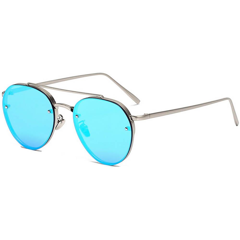 Sunglasses 86025 C6 Women's Metal Fashion Aviator Silver Frame Blue Mirror Lens