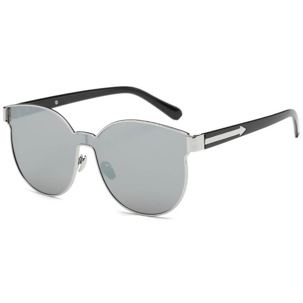 Sunglasses 86036 C1 Women's Metal Fashion Black/Silver Frame Silver Mirror Lens