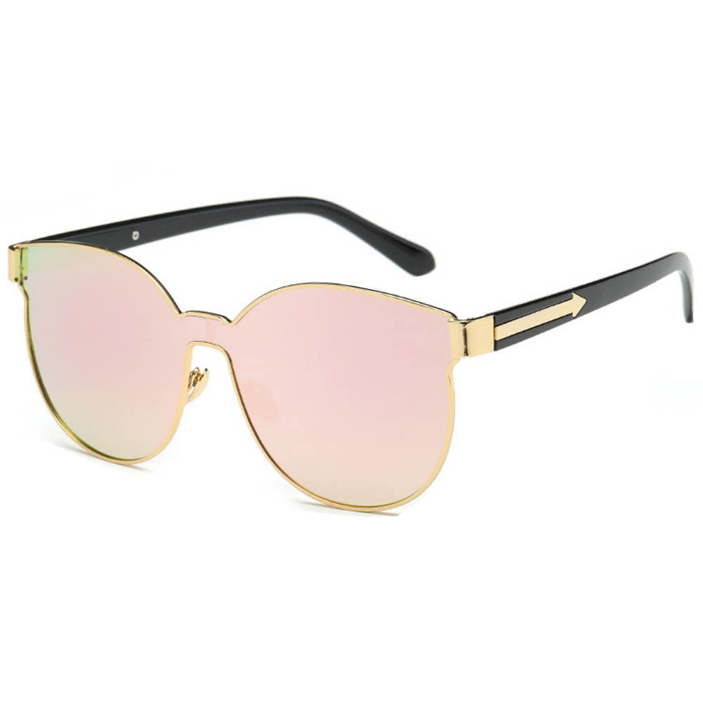 Sunglasses 86036 C4 Women's Metal Fashion Black/Gold Frame Fire Mirror Lens