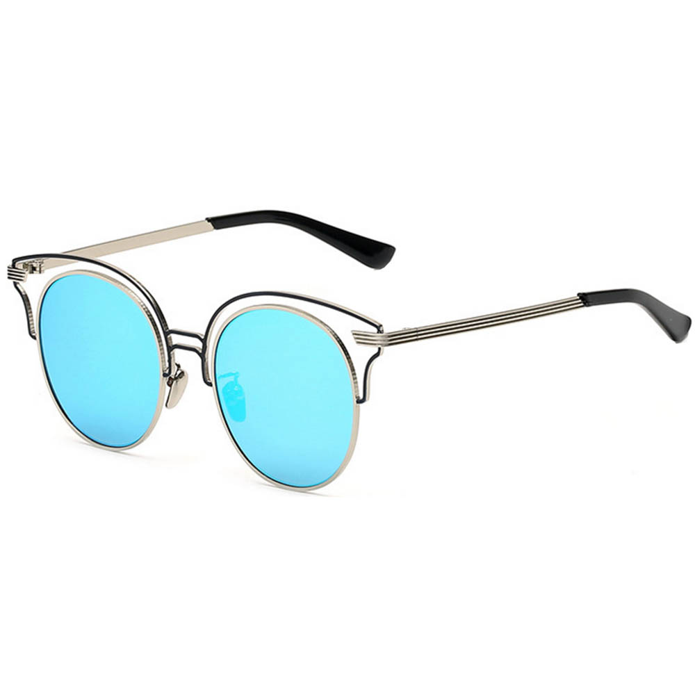 Women Metal Sunglasses Round Fashion Silver Frame Blue Mirror Lens