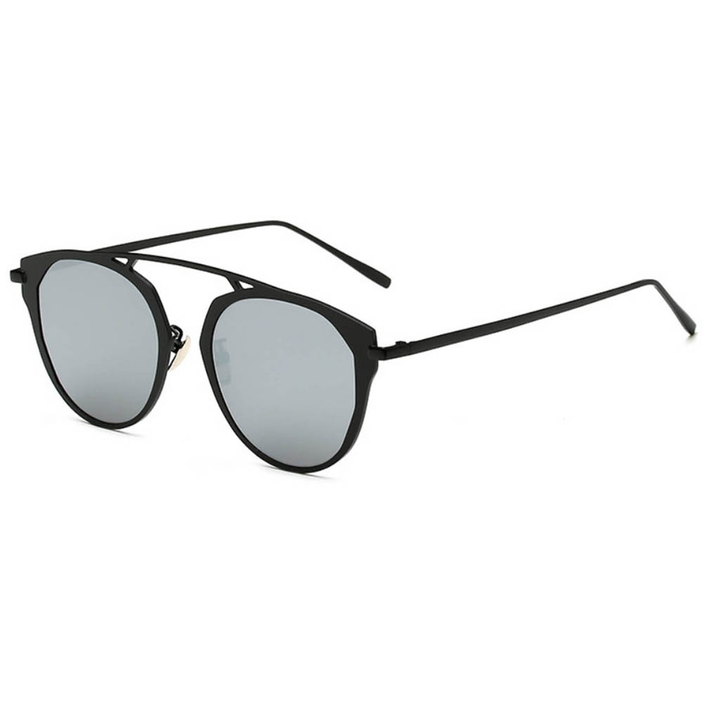 Sunglasses 86046 C2 Women's Metal Round Fashion Black/Silver Frame Silver Mirror Lens