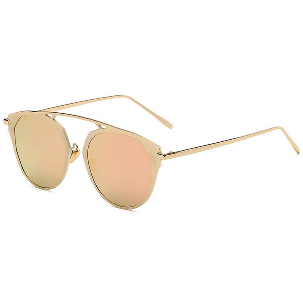 Sunglasses 86046 C4 Women's Metal Round Fashion Gold Frame Fire Mirror Lens