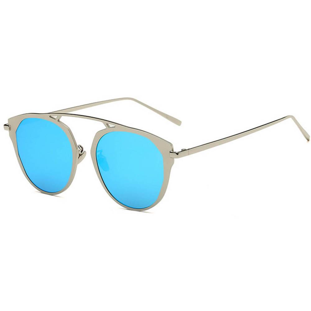 Sunglasses 86046 C6 Women's Metal Round Fashion Silver Frame Blue Mirror Lens