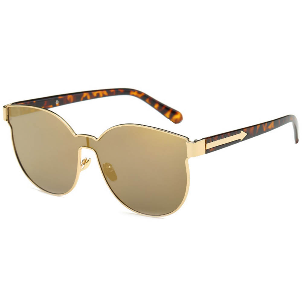 Sunglasses 86036 C3 Women's Metal Fashion Gold/Leopard Frame Brown Mirror Lens