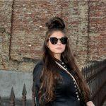 Sunglasses 86036 C5 Women's Metal Fashion Black/Gold Frame Smoke Mirror Lens