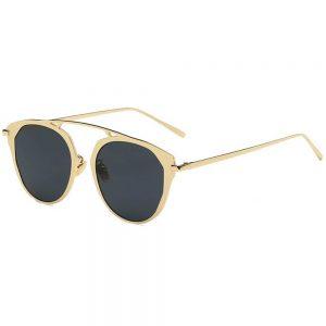 Sunglasses 86046 C1 Women's Metal Fashion Gold Frame Smoke Lens