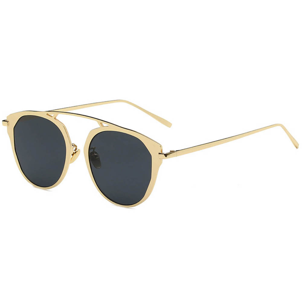 Sunglasses 86046 C1 Women's Metal Fashion Gold Frame Smoke Lens