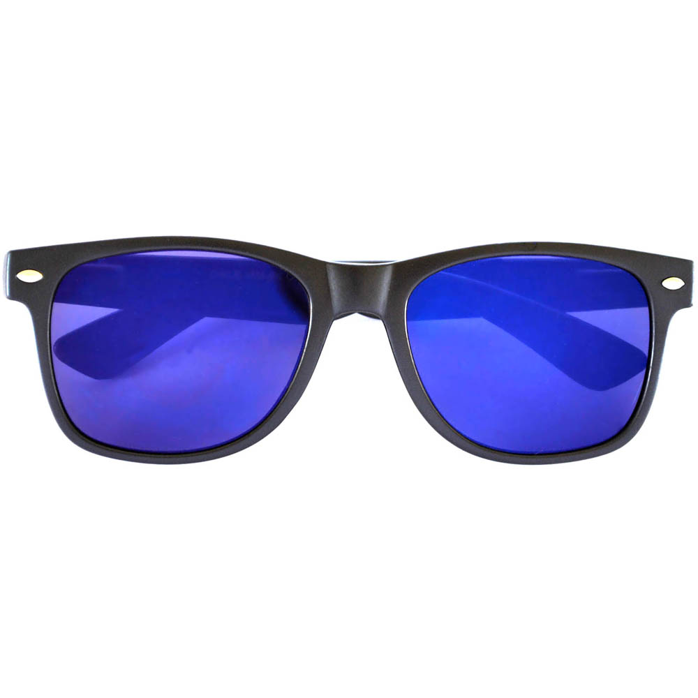 Sunglasses Flat Black Frame Blue Mirror Lens