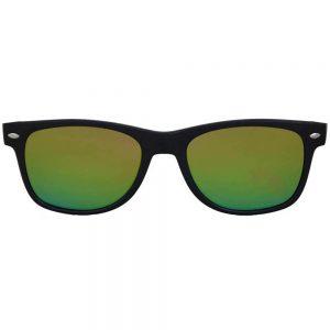 Sunglasses Flat Black Frame Fire Mirror Lens