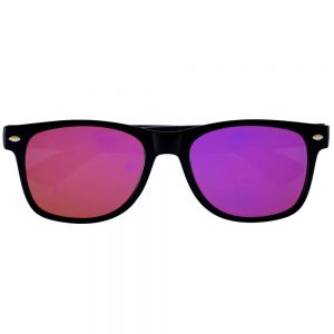 Sunglasses Flat Black Frame Purple Mirror Lens