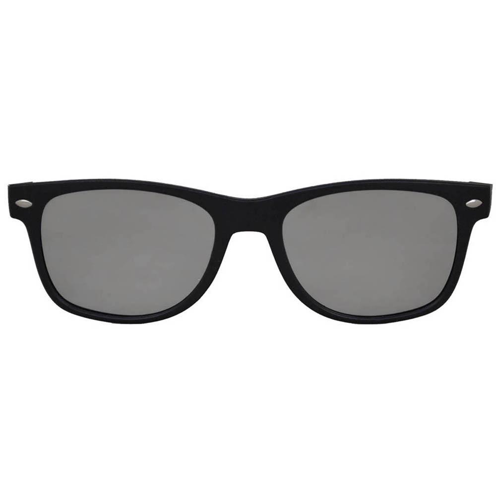 Sunglasses Flat Black Frame Silver Mirror Lens