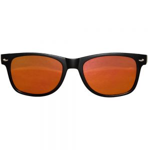 Sunglasses Flat Black Frame Yellow-Red Mirror Lens