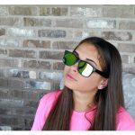 Sunglasses Flat Black Frame Yellow Mirror Lens