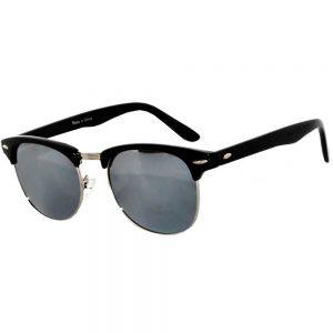 Half Frame Sunglasses Black/Silver Frame Silver Mirror Lens