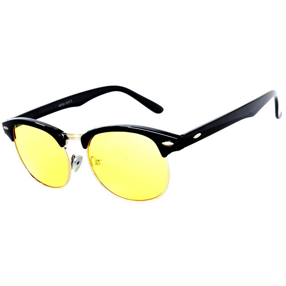 Half Frame Sunglasses Black/Silver Frame Yellow Lens