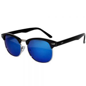 Half Frame Sunglasses Black/Silver Frame Blue Mirror Lens