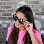 Half Frame Sunglasses Black-Silver Metal Frame Mirror Yellow Lens