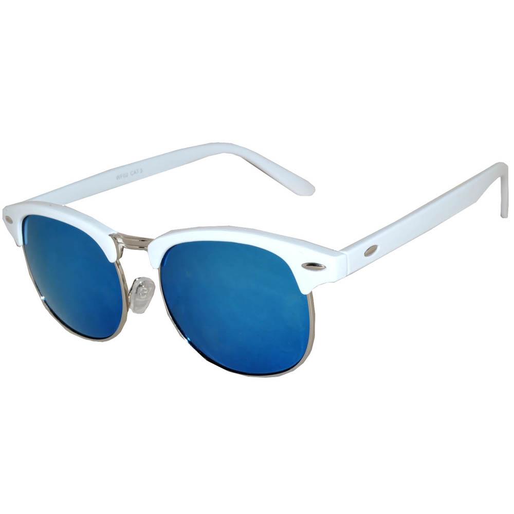 Half Frame Sunglasses Leopard White/Silver Frame Blue Mirror Lens