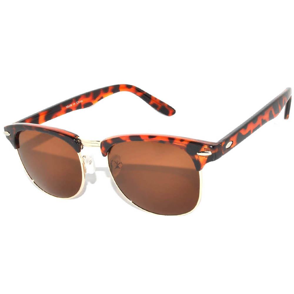 Half Frame Sunglasses Leopard/Gold Frame Brown Lens