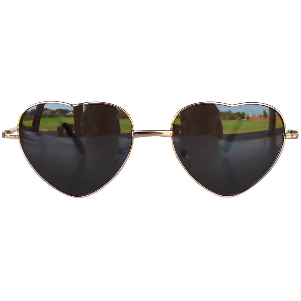 Sunglasses Heart Women's Metal Gold Frame Brown Lens