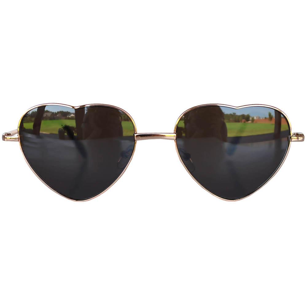 Sunglasses Heart Women's Metal Gold Frame Brown Lens