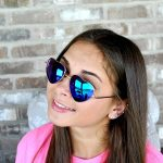 Sunglasses Heart Women's Metal Gold Frame Blue-Green Mirror Lens