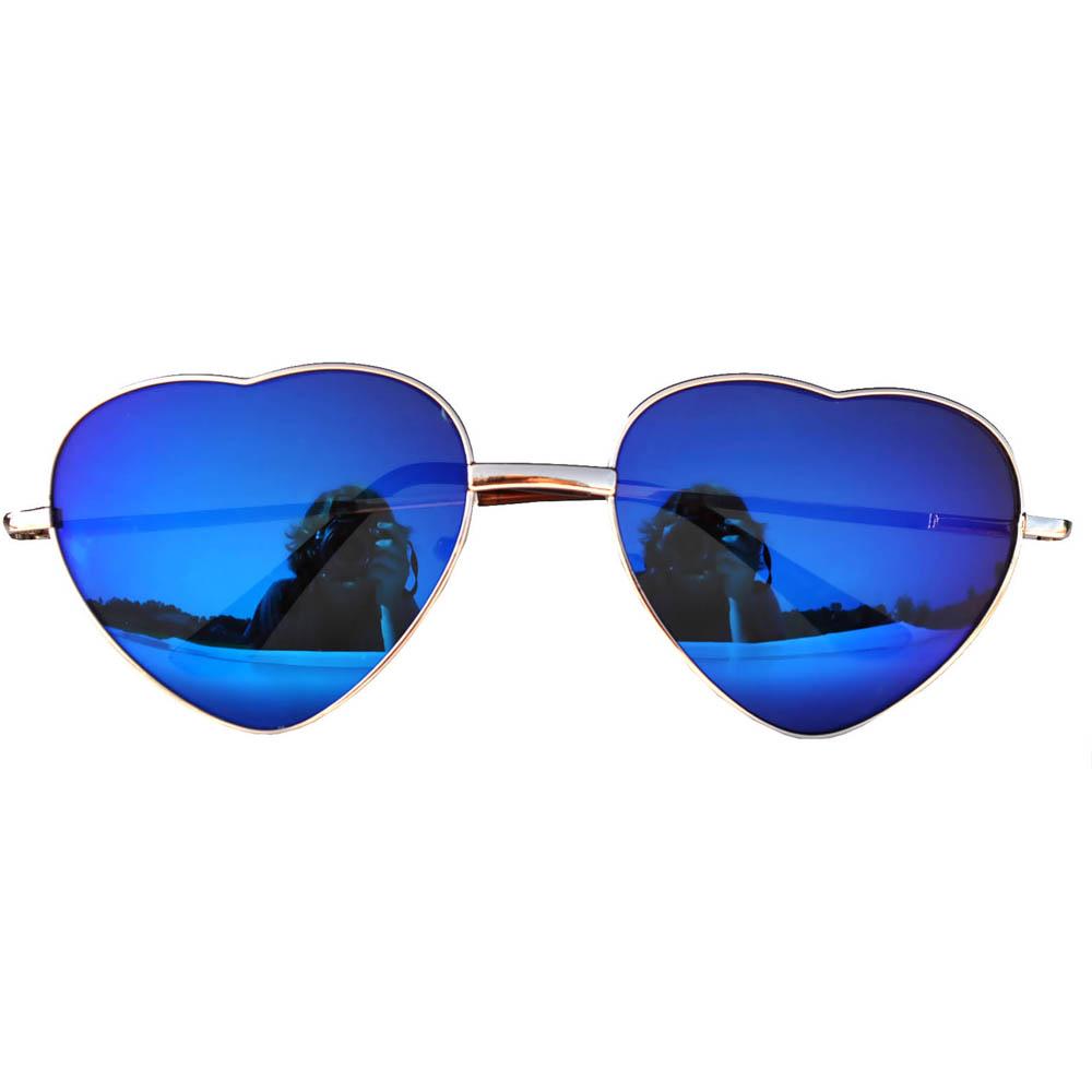 Sunglasses Heart Women's Metal Gold Frame Blue Lens