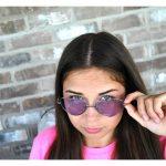 Sunglasses Heart Women's Metal Silver Frame Purple Lens