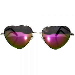 Sunglasses Heart Women's Metal Silver Frame Multicolor Mirror Lens