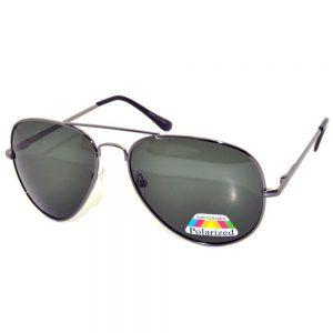 Aviator Sunglasses Black Frame Polarized Green Lens One Dozen