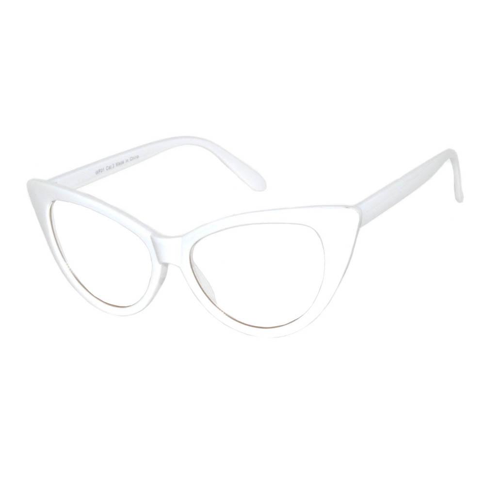 Wholesale Cat Eye Sunglasses White Frame Clear Lens One Dozen