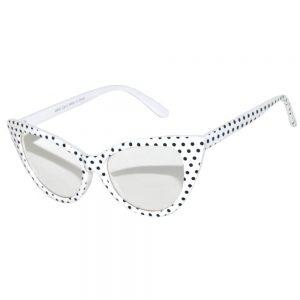 Cat Eye Glasses white frame Clear lens polka dots