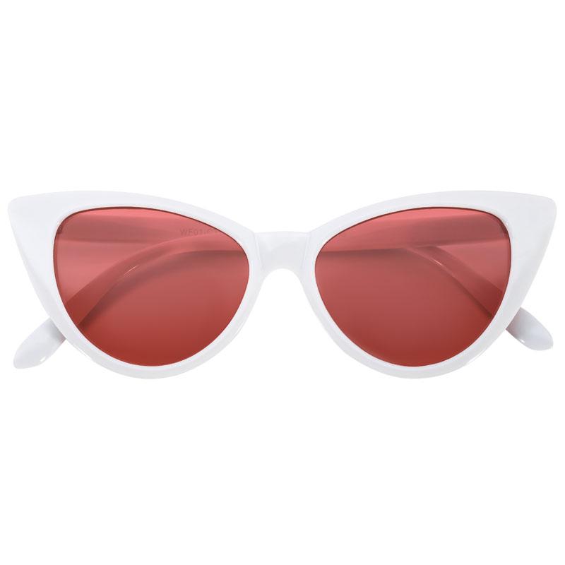 cat eye sunglasses white plastic frame red lens