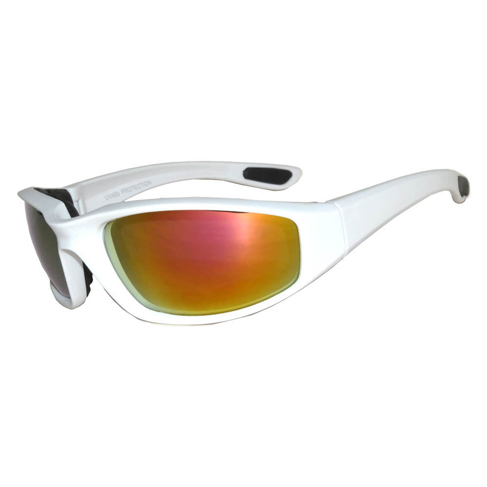 1 pair of White Motorcycle Padded Glasses Red
