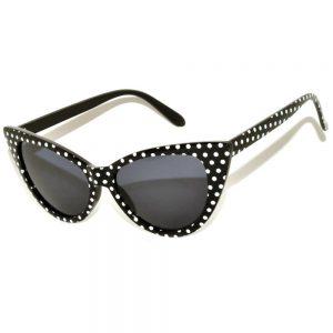 Wholesale Cat Eye Sunglasses Black Frame Polka Dots Smoke Lens One Dozen