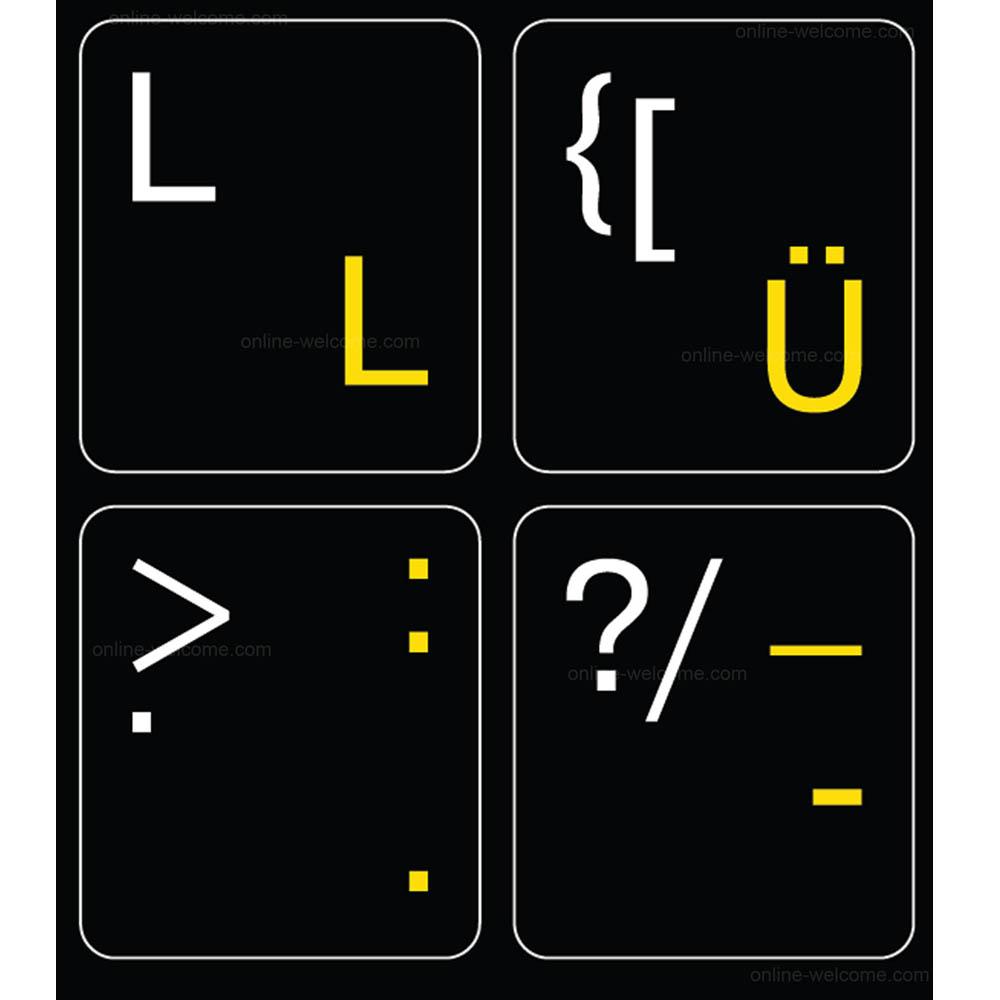 German English keyboard sticker