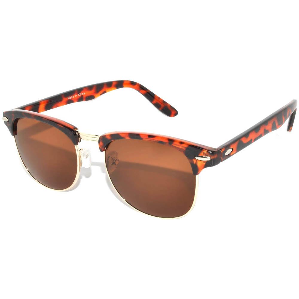 Half Frame Sunglasses Leopard Gold Metal Frame Brown Lens One Dozen