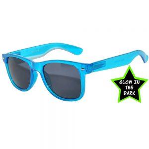 1 pair of Glow in the Dark Sunglasses Smoke Lens Blue
