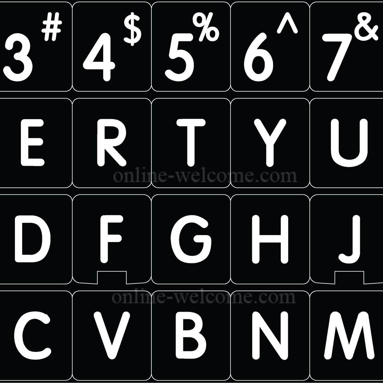 Mac English font round large letters black keyboard sticker